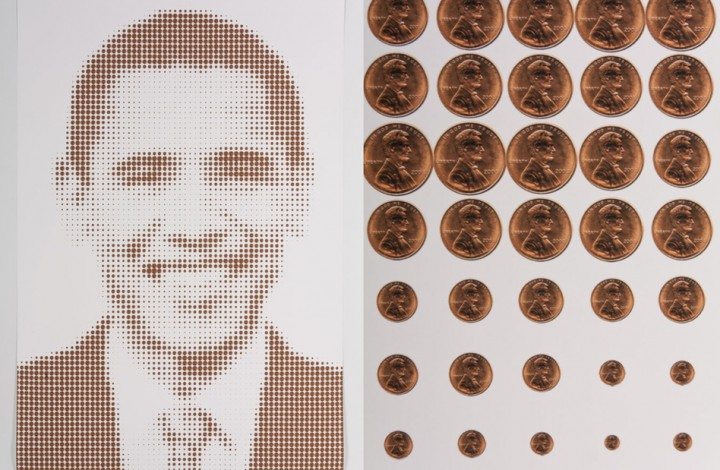 Obama and Lincoln, (Penny Portrait)